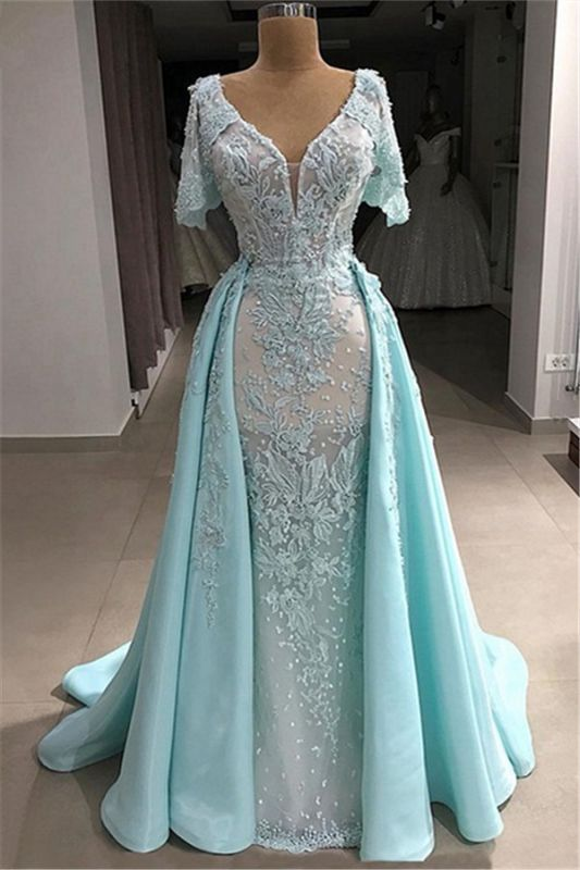 Tulle V-Neck Short-Sleeves Appliques Long Evening Dress with Pearls