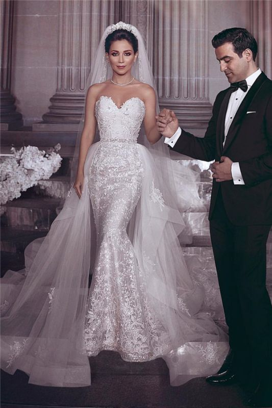 Cheap Stylish Strapless Sweetheart Tulle Appliques Wedding Dresses