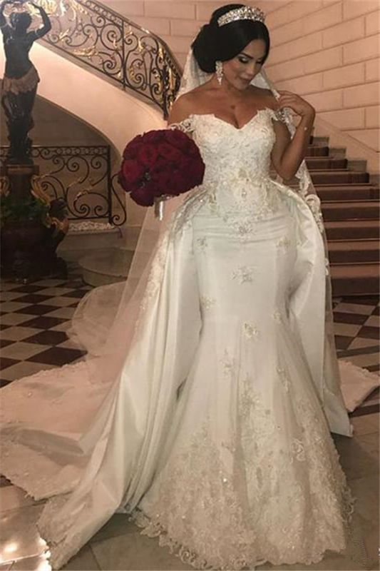 Sexy Off The Shoulder Sweetheart Lace Appliques Wedding Dresses Cheap with Detachable Train