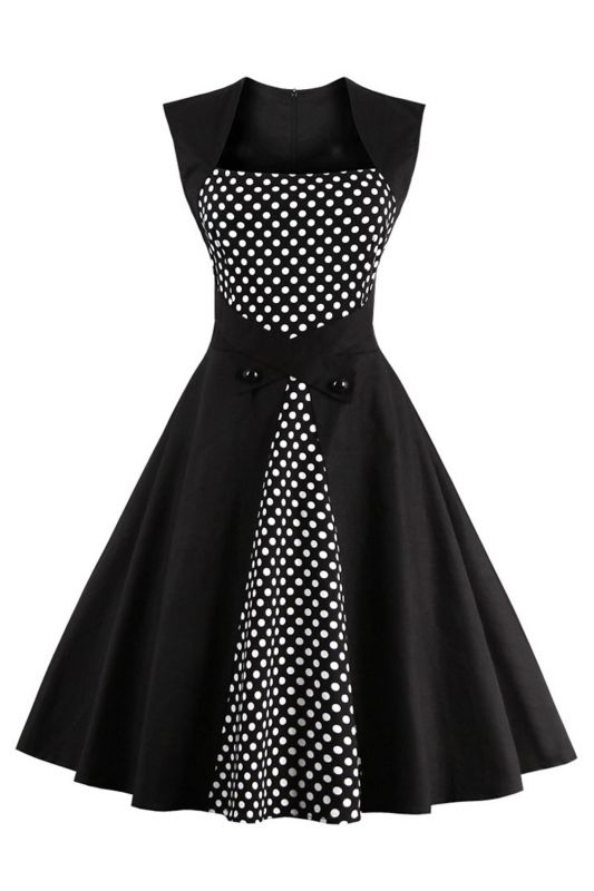 Amazing Polk-Dot Scoop Sleeveless A-line Pleats Fashion Dresses | Knee-Length Women's Dresses
