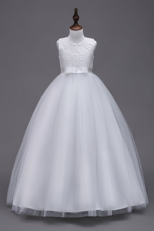 Elegant Jewel Lace Flowergirl Dresses | Bow Sleeveless Children Dresses