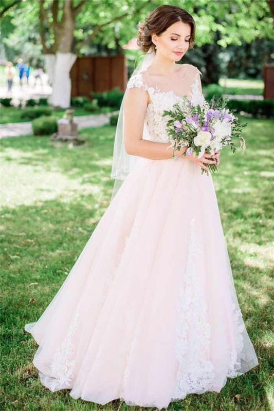 Tulle Lace Jewel Sleeveless Appliques Wedding Dresses Cheap Online