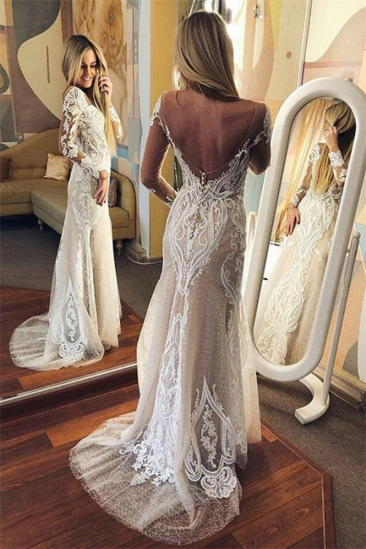 Sexy Tulle Lace Long Sleeve Open Back Wedding Dresses Cheap