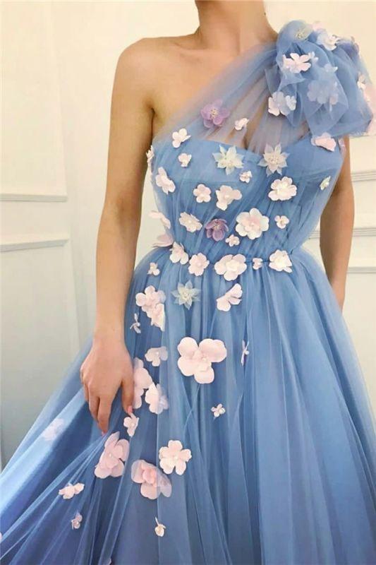 Tulle Chic Fleurs Une Epaule Robe De Soirée Longue