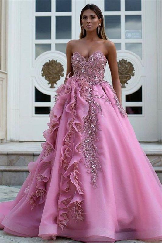 Exquisite Strapless Sweetheart Ruffles Appliques Long Evening Dress
