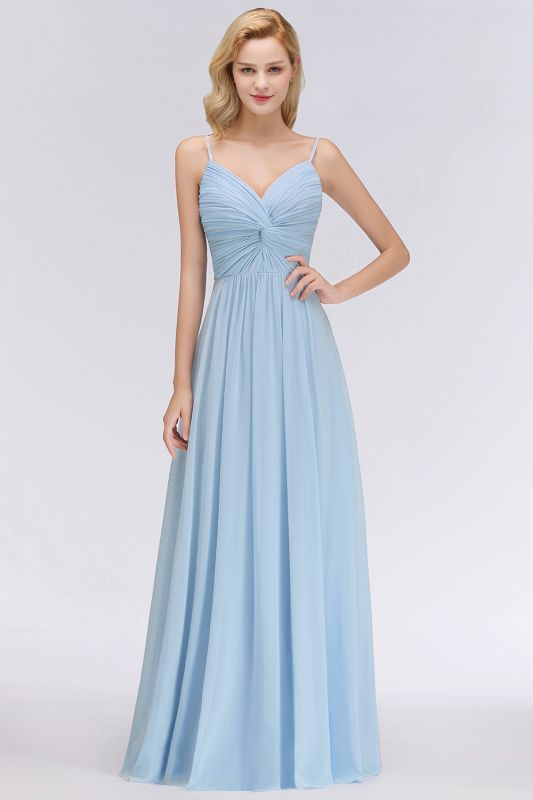 Chiffon V-Neck Spaghetti Straps Floor-Length Bridesmaid Dresses