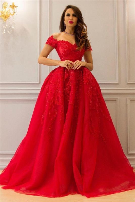 Tulle Lace Off-the-Shoulder Sweetheart Red Evening Dress