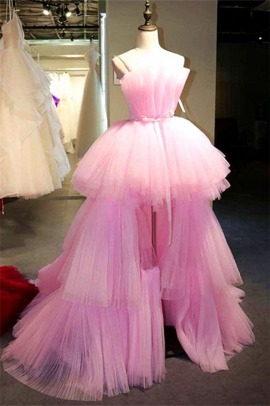 Stylish Hi-Lo Tulle Strapless Sleeveless Evening Dress