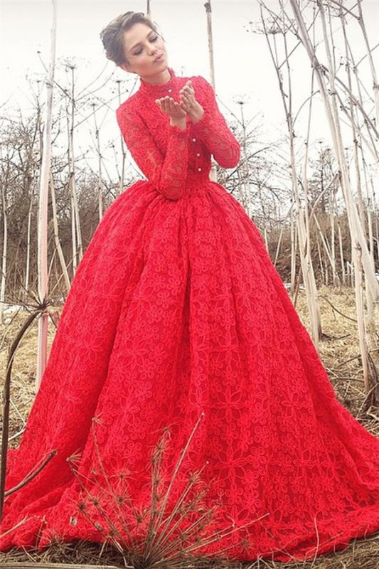 Exquisite High-Neck Lace Appliques Red Long Evening Dress