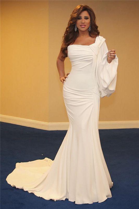 Stylish One-Shoulder Ruffles Mermaid Long Evening Dress