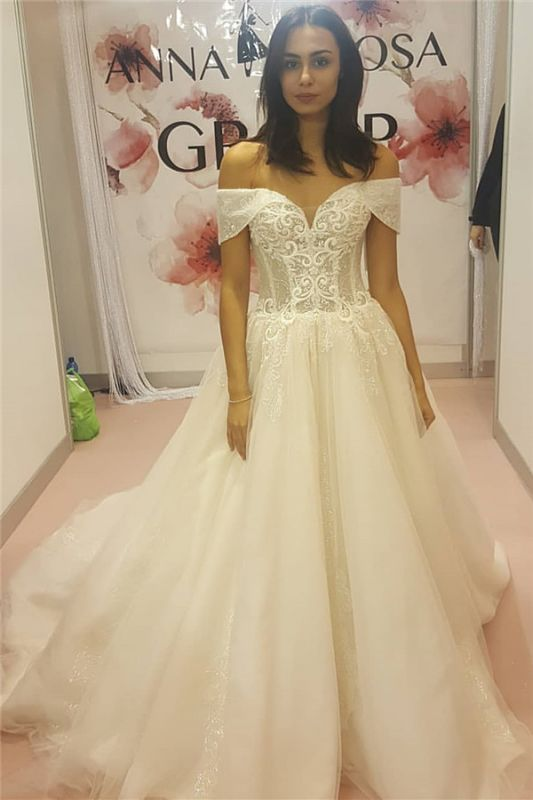 Off The Shoulder Sweetheart Sleeveless Appliques Cheap Wedding Dresses