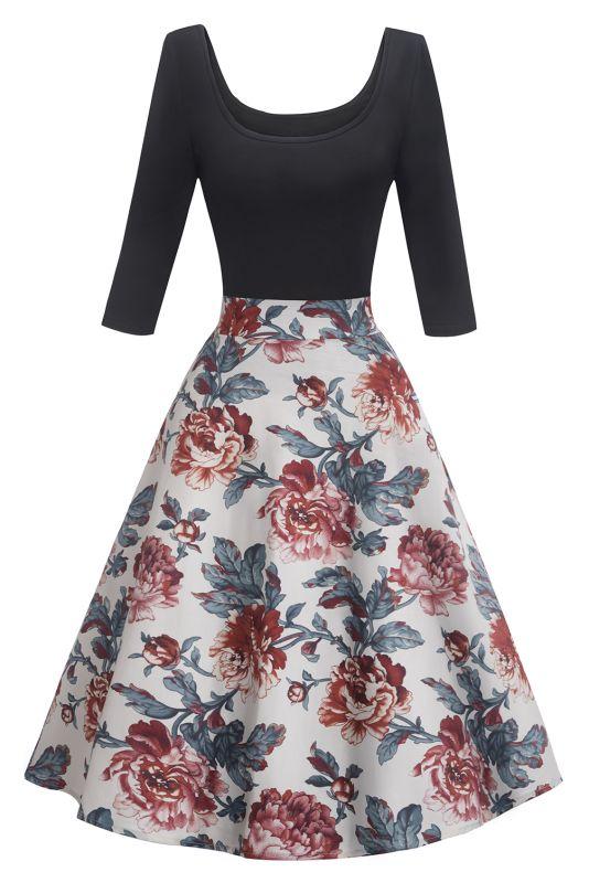Gorgeous 3/4-Length-Sleeves Scoop Fashion Dresses | Floral Women's Dresses