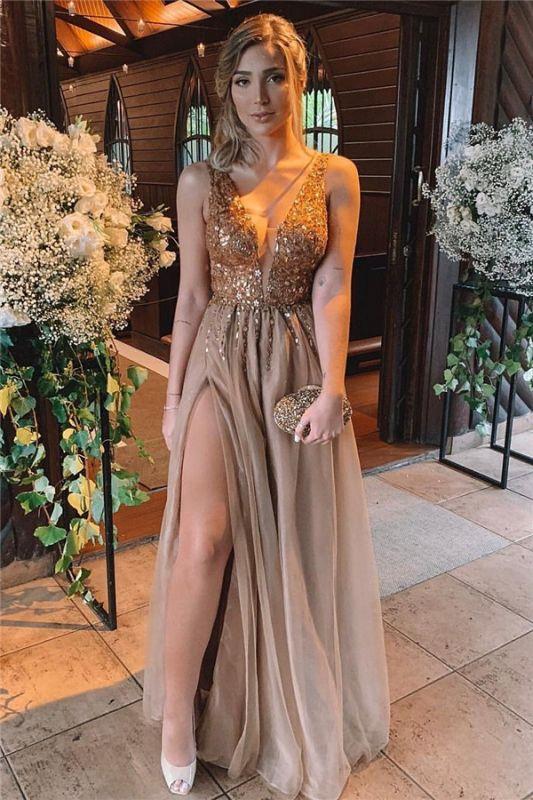 Sexy Front Slit Deep V Neck Prom Dress | Cheap Sleeveless Beading Ruffles Long Prom Dress