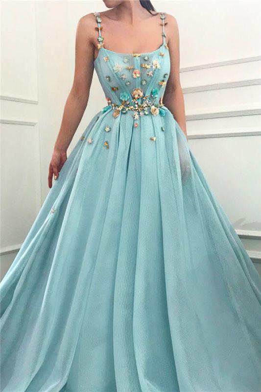 Sexy Spaghetti Straps Sleeveless Long Prom Dress   A Line Beading Flowers Cheap Prom Dress