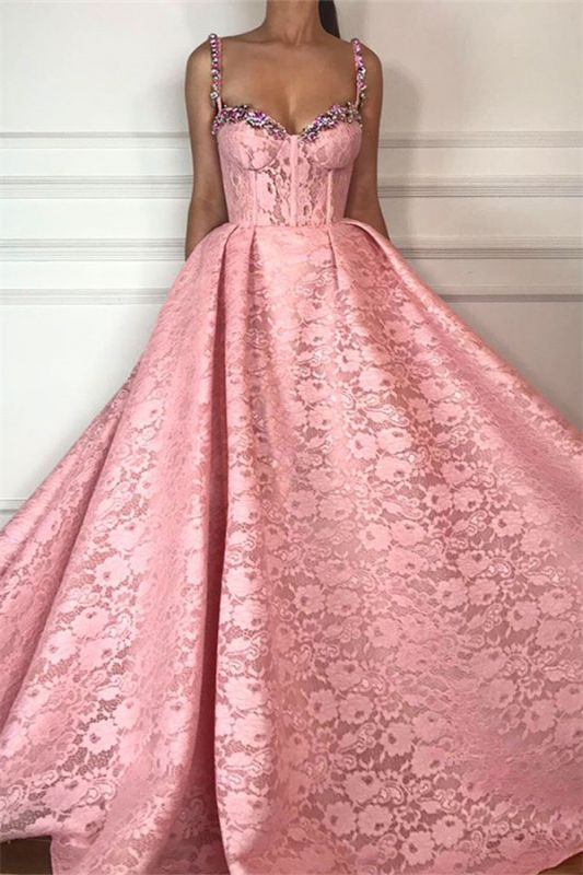 Fantastic Ball Gown Straps Sweetheart Prom Dress   Gorgeous Pink Lace Beading Long Prom Dress