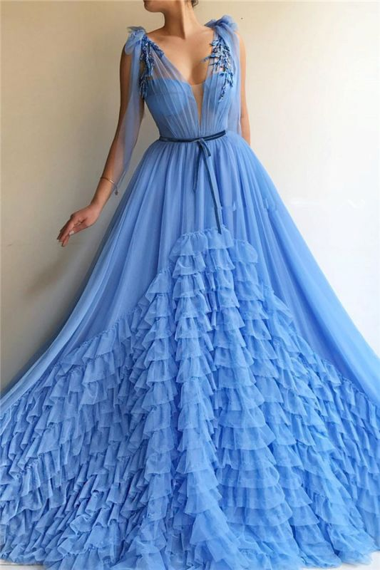 Sexy Tulle Deep V Neck Blue Prom Dress | Chic Sleeveless Layers Long Prom Dress with Sash