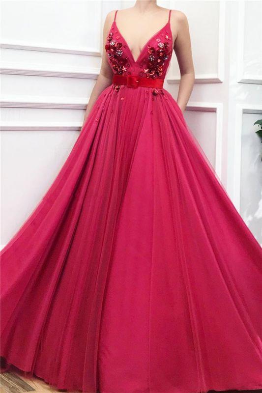 Sexy Spaghetti Straps V Neck Burgundy Prom Dress | Chic Tulle Flower Beading Long Prom Dress with Sash