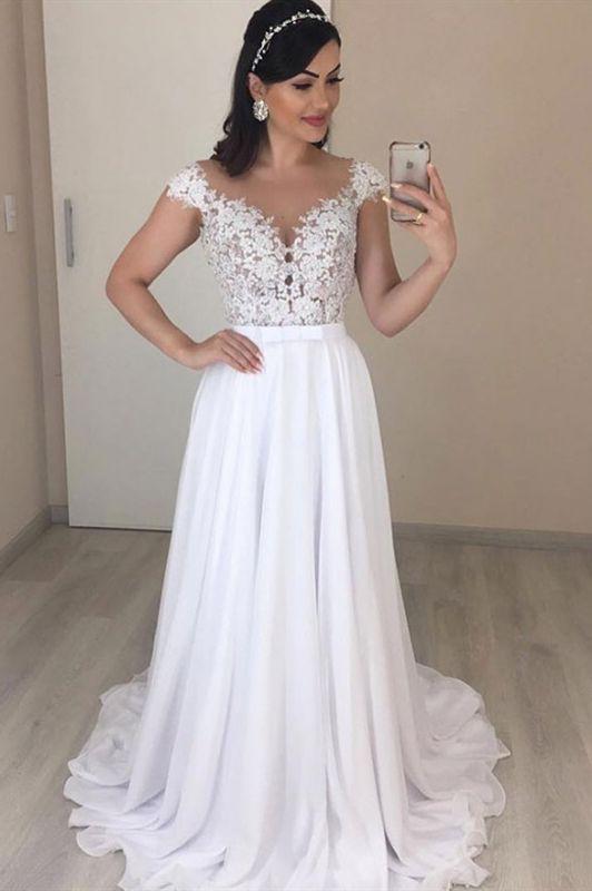 Gorgeous Cap Sleeves V-Neck Long Wedding Dresses | Cheap  Lace Chiffon Bridal Gowns