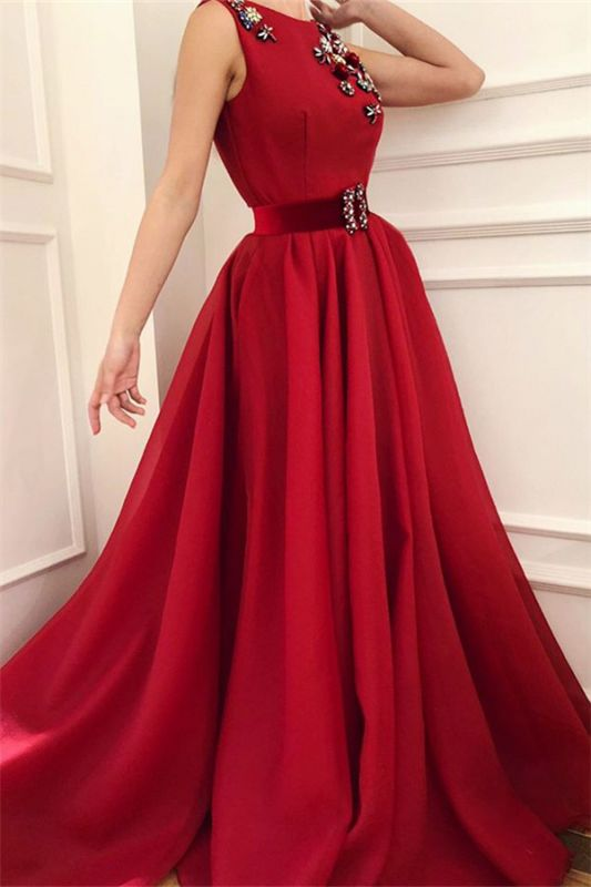 Cute Satin A Line Fowers Red Prom Dress with Dragonfly | Chic Scoop Sleeveless Long Prom Dress with Sash