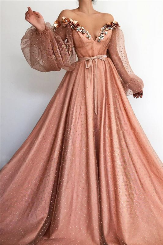 Sexy Off the Shoulder V Neck Long Prom Dress | Chich Tulle Beading Long Sleeves Prom Dress