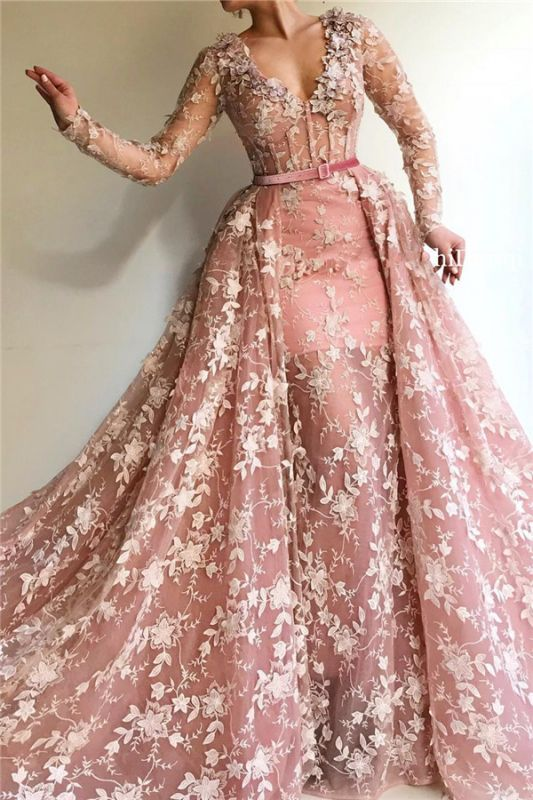 Sexy See Through Tulle Pink Long Sleeves Prom Dress | Charming Mermaid V Neck Appliques Long Prom Dress