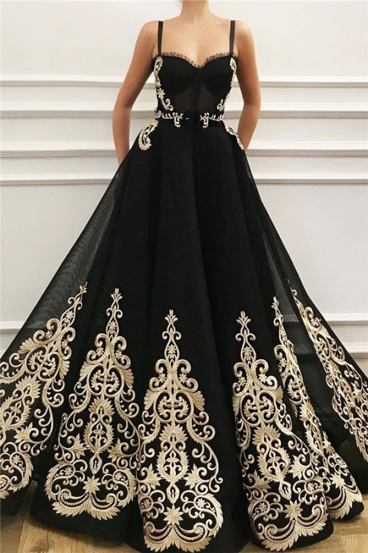 Cheap Straps Sweetheart Black Tulle Prom Dress | Charming Sleeveless Champagne Appliques Long Prom Dress