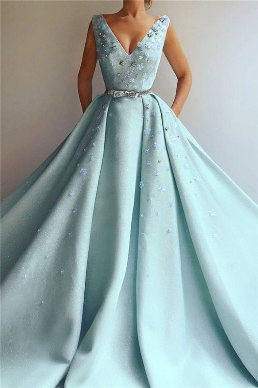 Robe de bal exquise paillettes à encolure en V | Robe de bal longue avec fleurs et perles