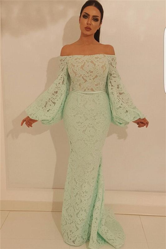Elegant Mermaid Off the Shoulder Prom Dress | Chic Lace Long Sleeves Prom Dress