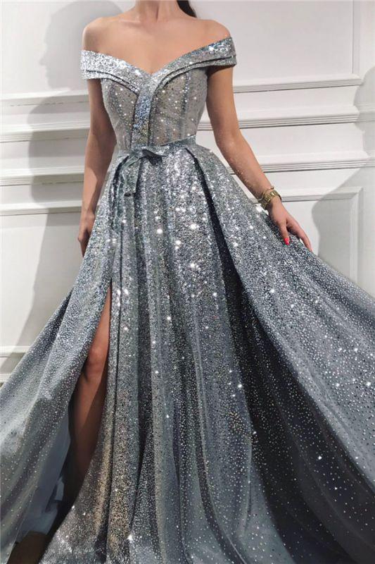 Paillettes scintillantes sur l'épaule robe de bal sans manches | Superbe robe de bal longue fendue brillante devant