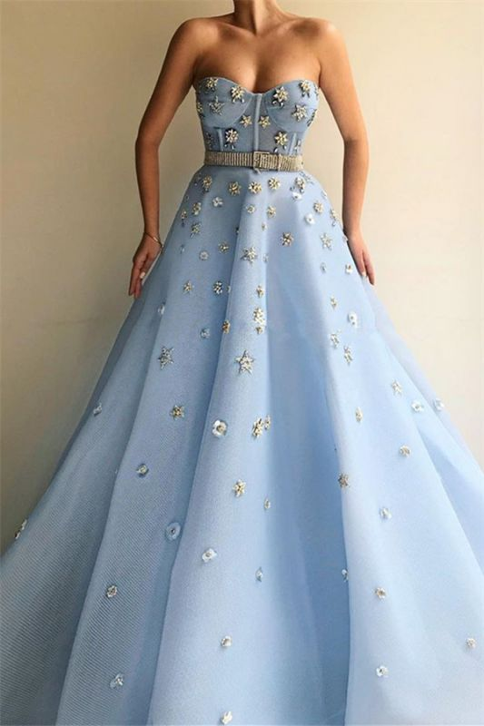 Stylish Strapless Sweetheart Beading Flowers Prom Dress | Chic Blue Tulle Long Cheap Prom Dress with Beadning Sash