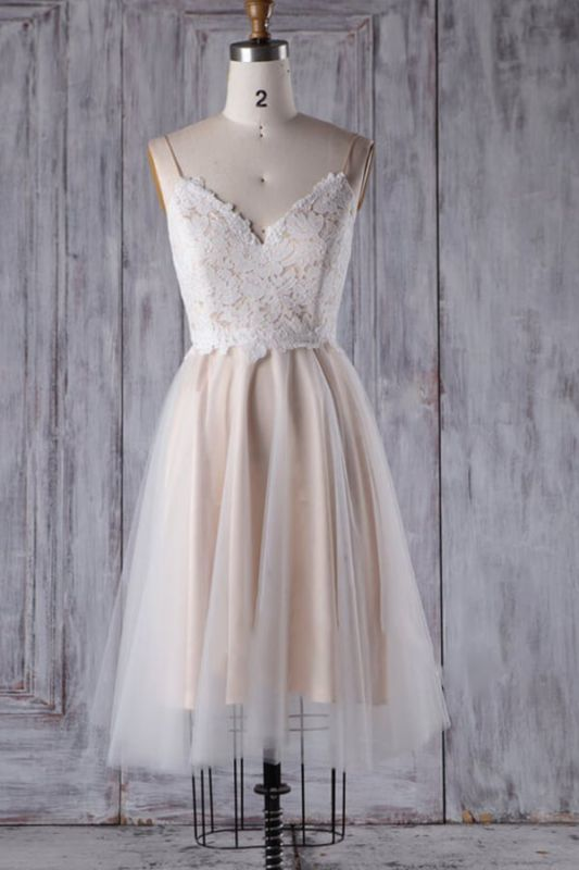 Spaghetti Strap Lace Tulle Short Wedding Dress Aline Formal Dress