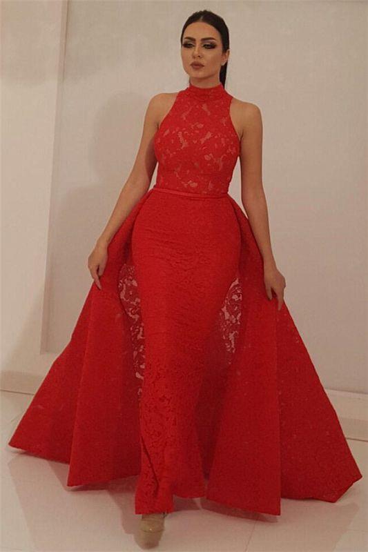 Robe de bal en dentelle rouge fantastique col haut sans manches | Robe de bal longue sirène chic avec jupe amovible