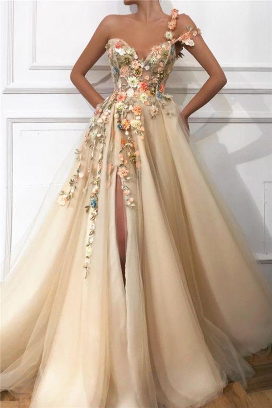 Robe de bal élégante en tulle avec bandoulière et épaule | Chérie sexy appliques fendue robe de bal de fleurs