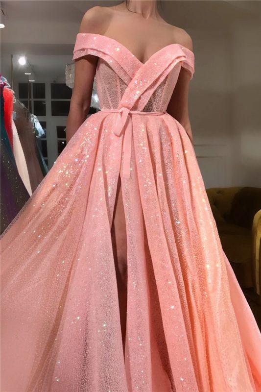 Paillettes scintillantes sur l'épaule robe de bal sweetheart | Robe de bal sexy longue sans manches fendue devant