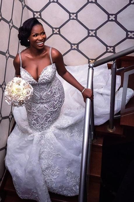 Luxury Beaded Lace Mermaid Sweetheart Wedding Dresses | Spaghetti-Straps Appliques Cheap Bride Dresses