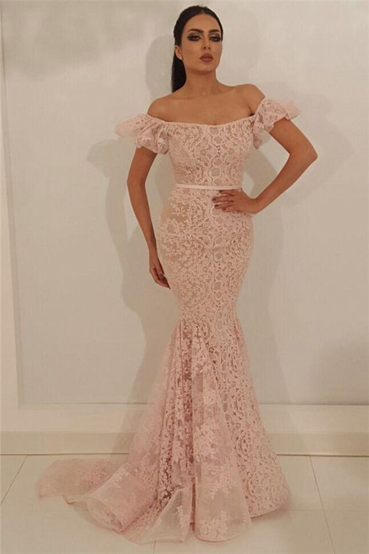 Stylish Off the Shoulder Lace Prom Dress | Chic Mermaid Sleeveless Long Cheap Prom Dress