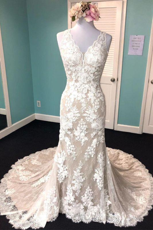 Robe de mariée champagne gaine v - cou | Tulle Blanc Dentelle Sans Manches Longue Robe De Mariée