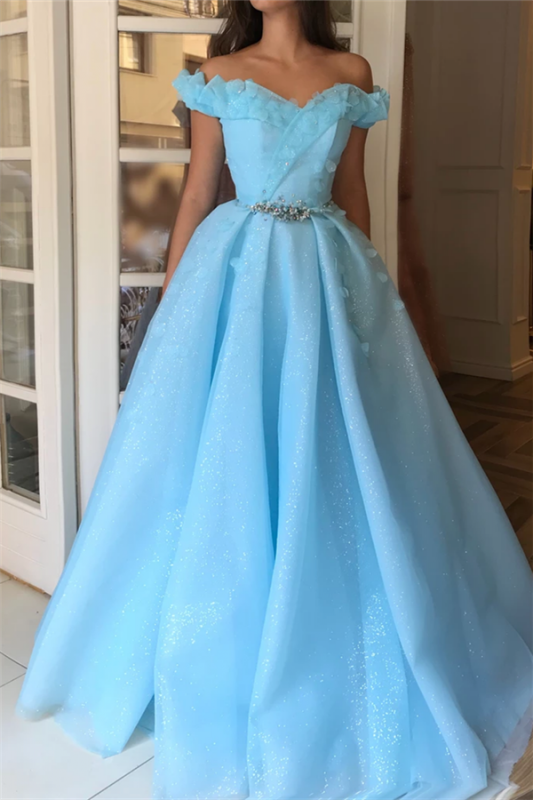 Sparkle Sequins Off the Shoulder Prom Dress | Charming Sweetheart Sleeveless Beading Long Prom Dress