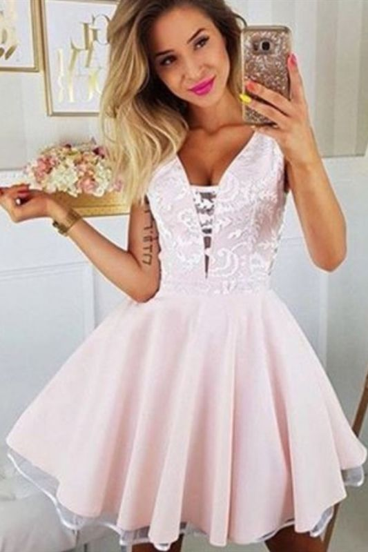 Sexy Deep V Neck White Appliques Homecoming Dress | Cheap Sleeveless Short Pink Homecoming Dress