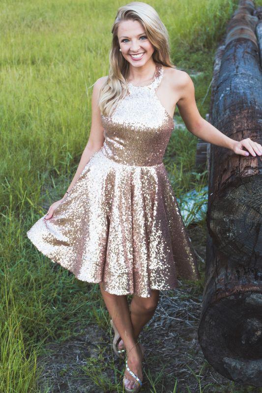 Sparkle Sequins Halter Homecoming Dress | Affordable Sleeveless Short Cocktail Dress