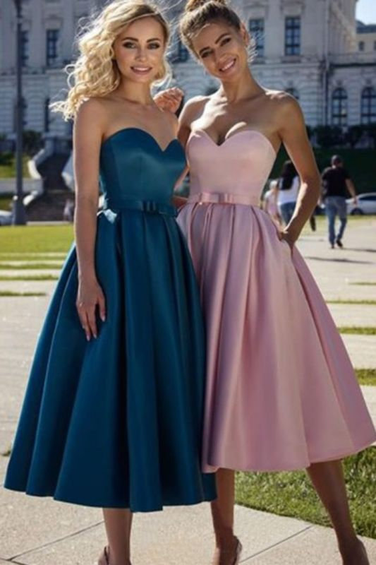 Simple Tea Length Sweetheart Pink Prom Dress | Affordable Strapless Navy Blue Prom Dress with Sash