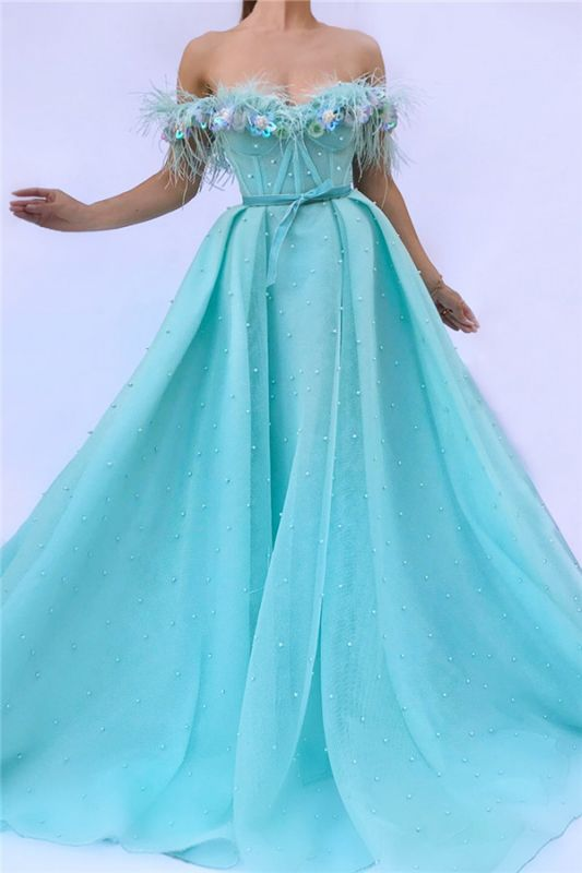 Sexy Off the SHoulder Sleeveless Prom Dress | Cute Feather Tulle Long Prom Dress with Pearls