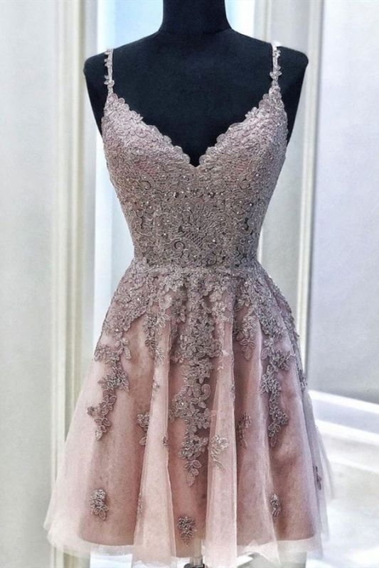 Cute V Neck Sleeveless Beads Sexy Short Homecoming Dresses | Chic Spaghetti Straps Lace Cocktail Dress