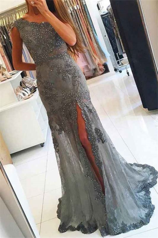 Charming Scoop Beading Lace Prom Dress | Sexy Mermaid Front Slit Long Prom Dress