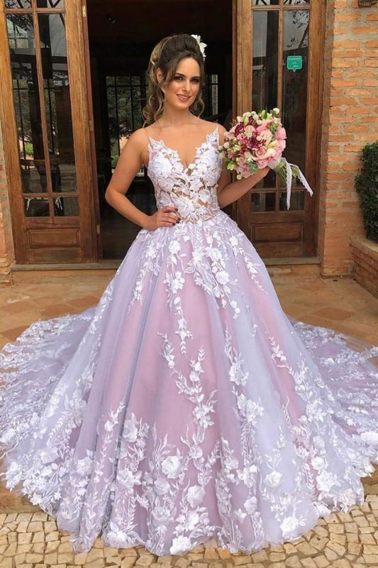 Sexy Spaghetti Straps V Neck See Through Bodice Prom Dress | Chic Tulle Lace Appliques Long Pink PromGown