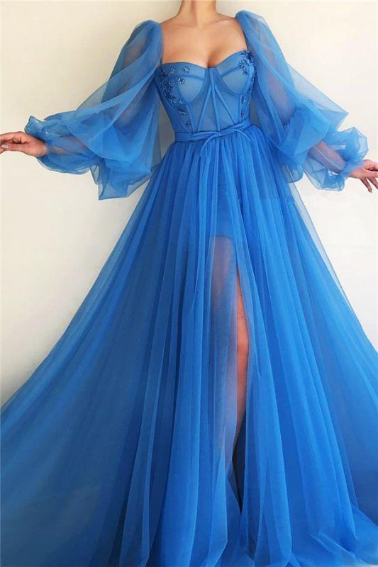 Robe de bal sexy à manches longues et longue encolure en cœur | Robe de bal longue bleue fendue devant