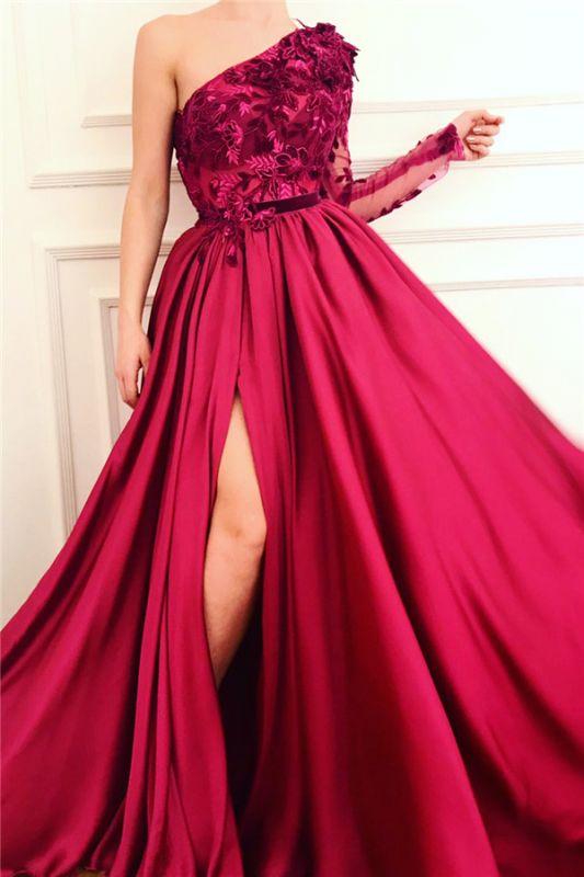 Robe de bal sexy une épaule fendue bordeaux | Robe de bal longue à manches courtes