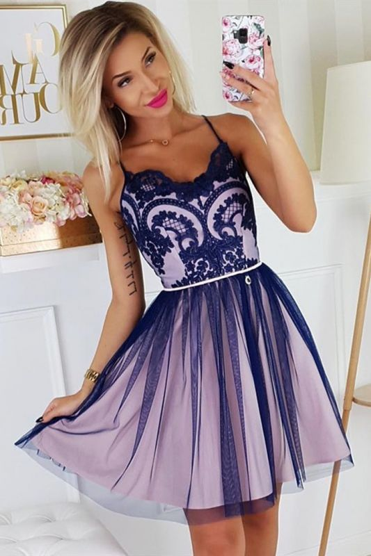 Chic Spaghetti Straps Lace Homecoming Dress | Cheap Sleeveless Short Grape Homecoming Dress