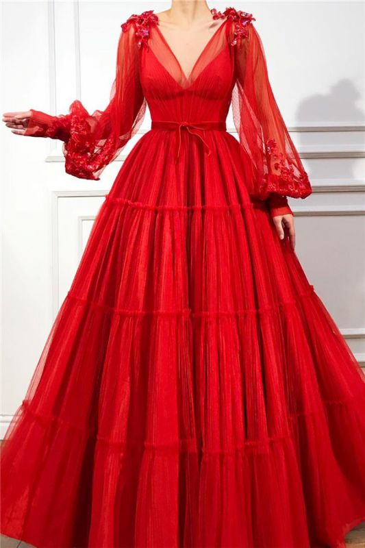 Chic V Neck Long Sleeves Red Tulle Prom Dress | Charming Ball Gown Appliques Beading Long Prom Dress