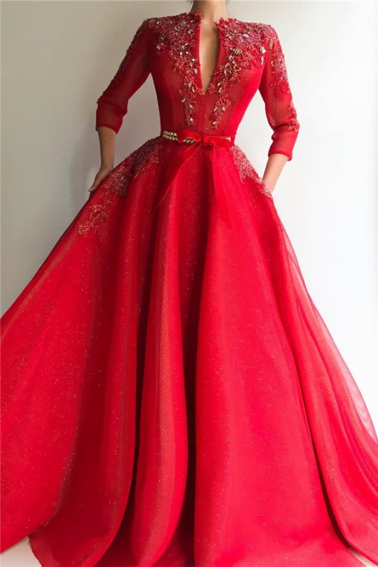 Sparkly Sequins Tulle V Neck Red Prom Dress | Charming Jewel 3/4 Sleeves Appliques Long Prom Dress